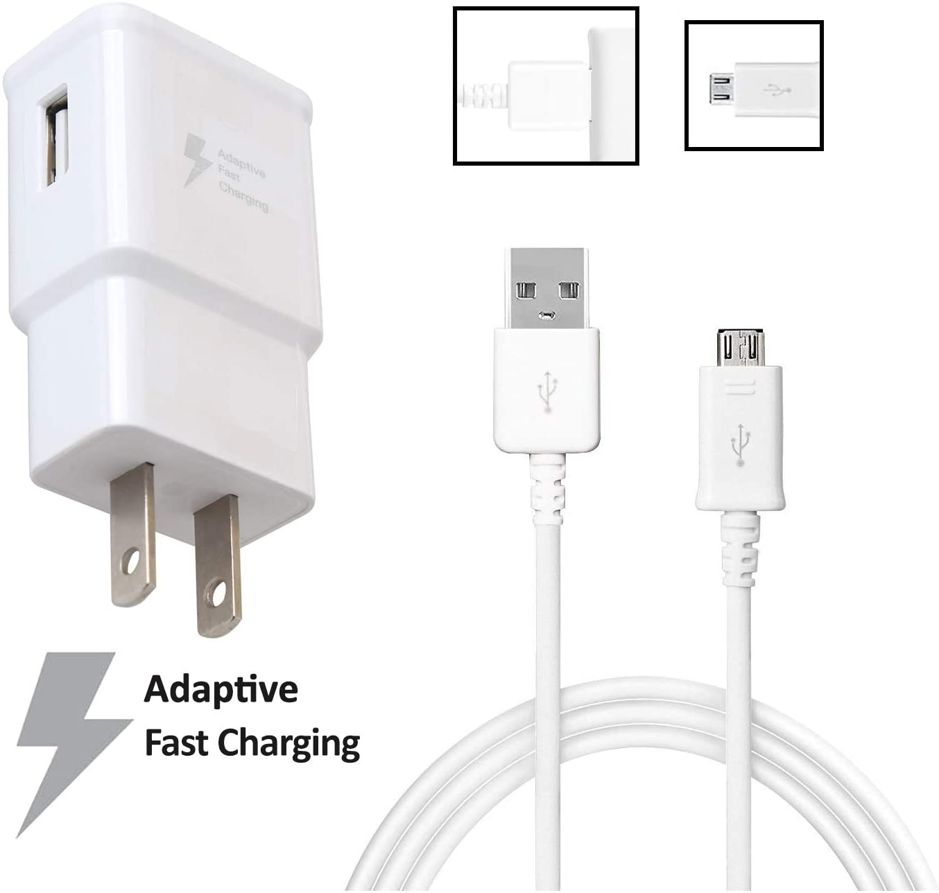 OEM Adaptive Fast Charger Compatible with HTC Desire 630 Cell Phones [Wall Charger + 5 FT Micro USB Cable] - AFC uses Dual voltages for up to 50% Faster Charging!- White