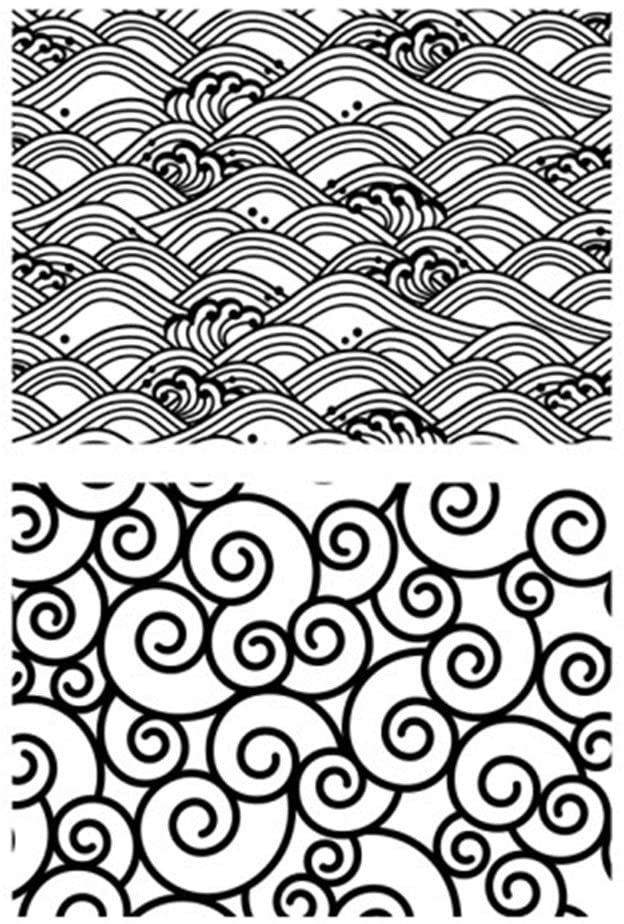 Chinese Retro Style Swirls Ocean Waves Background Scrapbook DIY Photo Cards Rubber Stamp Clear Stamps Transparent Stamp