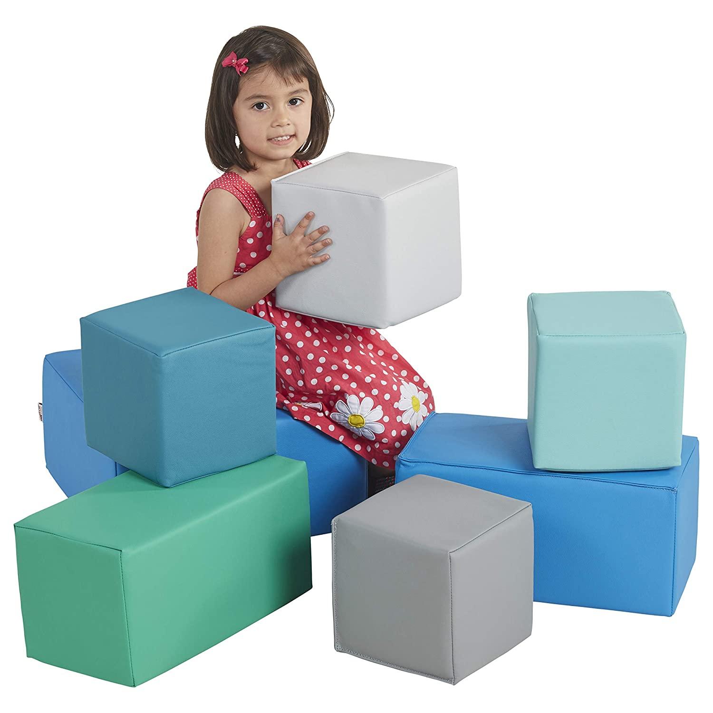 ECR4Kids Softzone Foam Big Building Blocks, Soft Play For Kids (7-Piece Set), Big Blocks, Contemporary