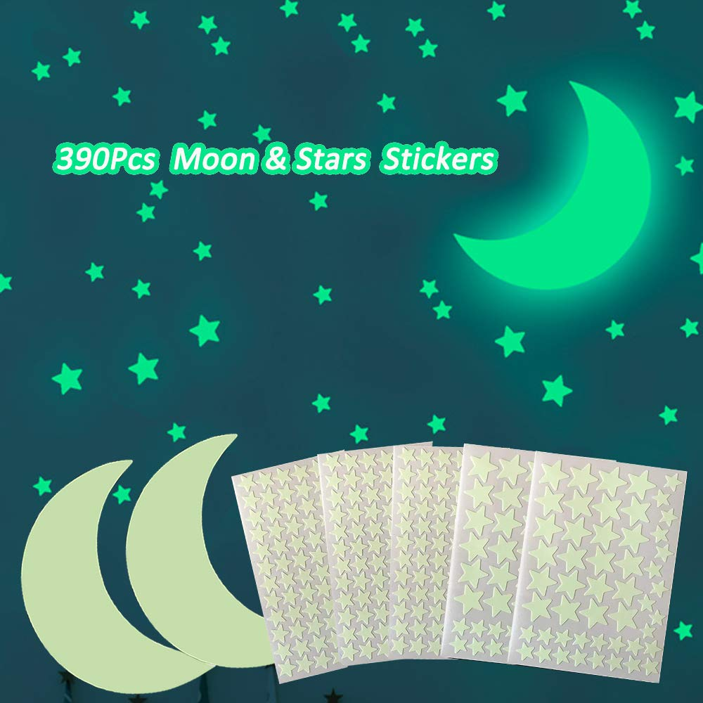 390Pcs Glow in The Dark Moon and Star Wall Stickers, AUHOKY Bright Starry Sky Wall or Ceiling Decal for Simulated Effect at Night, Removable Adhesive Mural Wallpaper for Kids Bedroom Gift Nursery