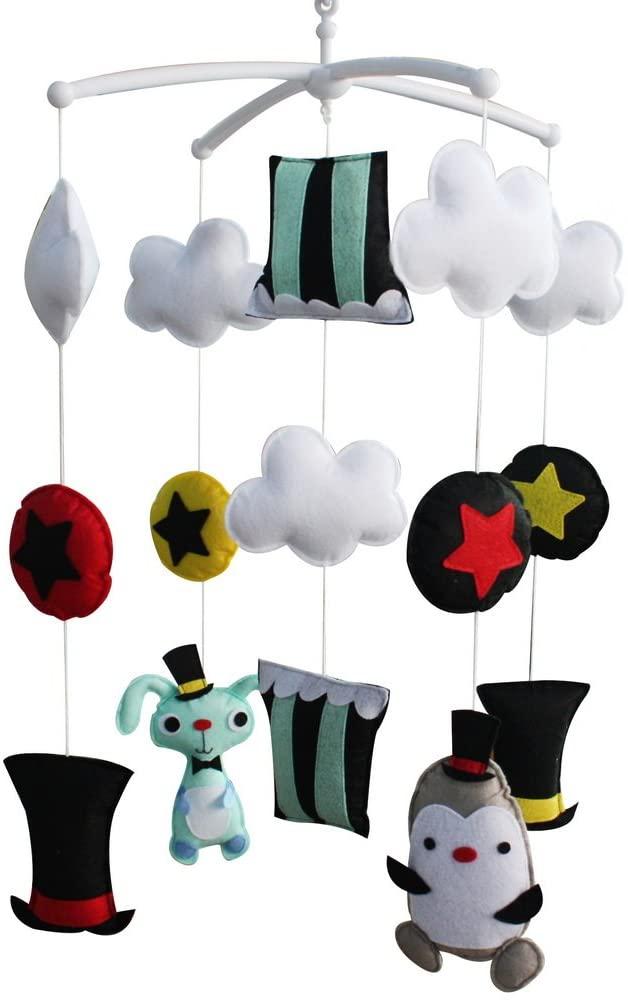 Magic Rabbit and Penguin Handmade Animal Musical Crib Mobile Hanging Nursery Room Decor Baby Mobile for Crib