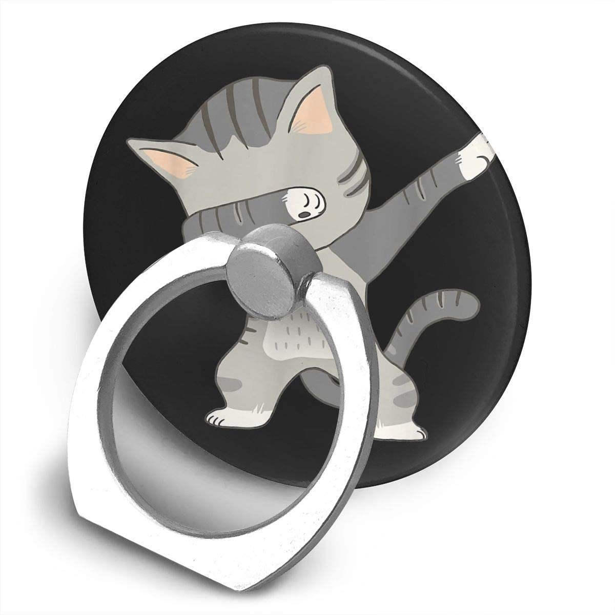 Nmfdz Dabbing Cat- Funny Cat Alloy Mobile Phone Ring Bracket,360 Degree Rotating Ring Stand Grip Mounts