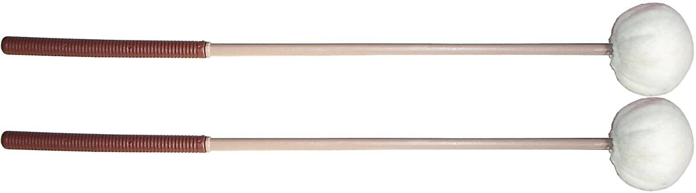 Par de mazas para bajos y subcontrabajos. Cabeza de fieltro blando Ø50 mm. Longitud: 370 mm.