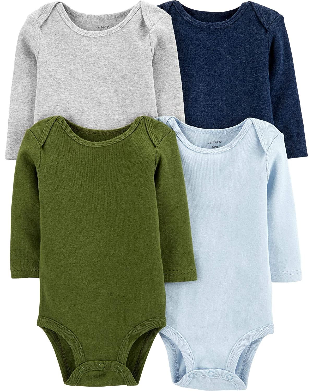 Carter's Baby 4 Pack Long Sleeve Bodysuit Set, Boys Solid, Preemie
