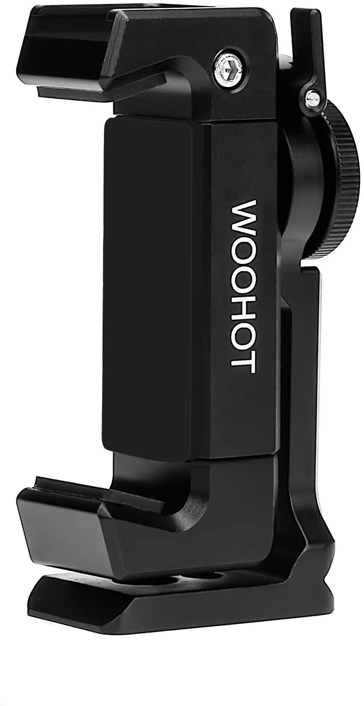Metal Phone Tripod Mount with Cold Shoe,Woohoto 360 Rotation,Compatible with iPhone 11 Pro Tripod Mount, Osmo Pocket Holder, Sumsung Smartphone Holder Adapter, Cell Phone Clamp,Video Rig Mount