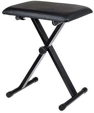 Folding Stools Black Adjustable Piano Keyboard Bench Leather Padded Seat Chair