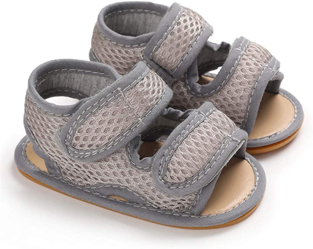 Meckior Infant Baby Boys Girls Adjustable Strap Sandals Breathable Mesh Summer Shoes Non-Slip Soft Rubber Sole First Walker Newborn Outdoor Beach Slippers