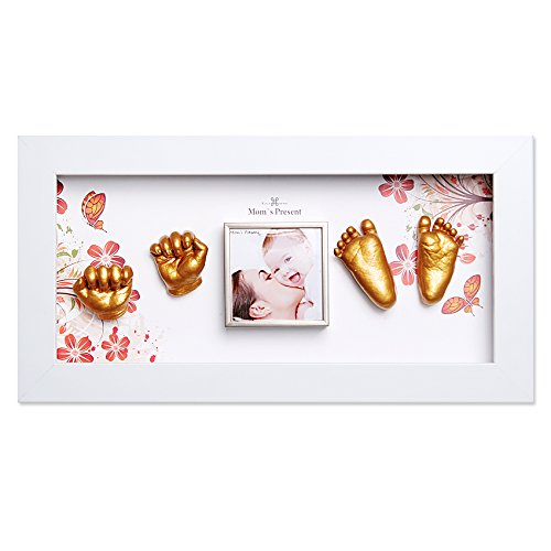 Momspresent Baby Hand Print and Foot Print Deluxe Casting kit with White Frame1 Gold