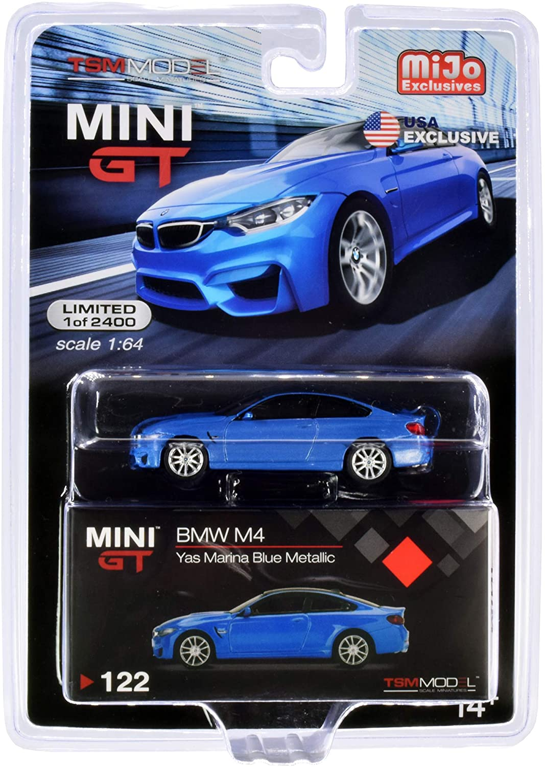 M4 (F82) Yas Marina Blue Metallic with Carbon Top Limited Edition to 2400 Pieces 1/64 Diecast Model Car by True Scale Miniatures MGT00122