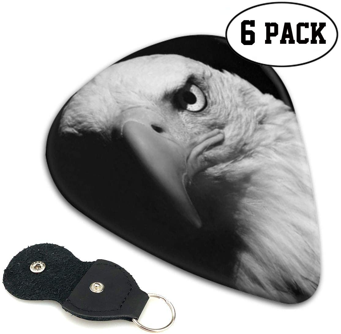 Xzyauza Eagle Black and White 6 Pack Celluloid Guitar Picks Mandolin,and Bass 0.46mm, 0.71mm, 0.96mm Optional
