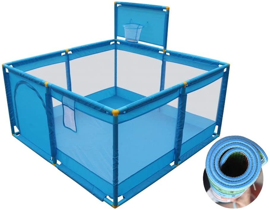 CYLQ Baby Playpen Activity Center,Playard Playpens for Babies Portable Baby Fence Play Area with Crawling Mat, Play Pen for Toddler Blue 12812866cm (Color : Blue+b)