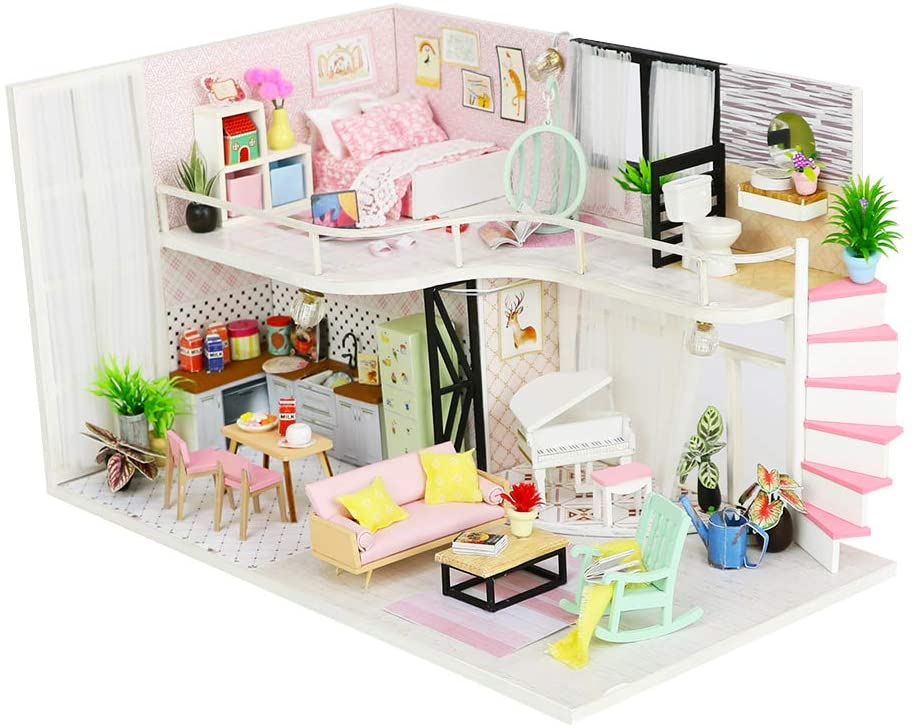 CYL Luxury Loft DIY Wooden Doll House Kit Miniature Furniture Kits with LED Lights Best Birthday Gifts for Teens Dollhouse Building House Model Puzzle Toys (Pink Melody)
