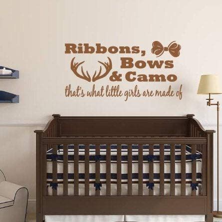 CLIFFBENNETT Ribbons, Bows, Camo, Little Girls are Made of, Vinyl Wall Decal, Girl, Bedroom, Nursery, Home Decor, Hunting, Antlers, Child, Custom Decal