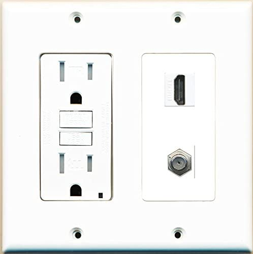 RiteAV GFCI 15 Amp 125V Power Outlet with HDMI Coax Cable TV Wall Plate White