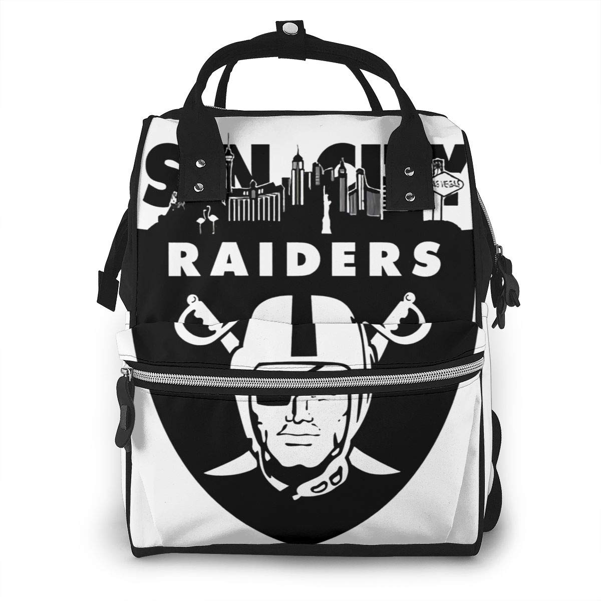 Skyline Las Vegas Raiders Inspired Classic Durable Large Capacity Diaper Bag Mommy Backpack