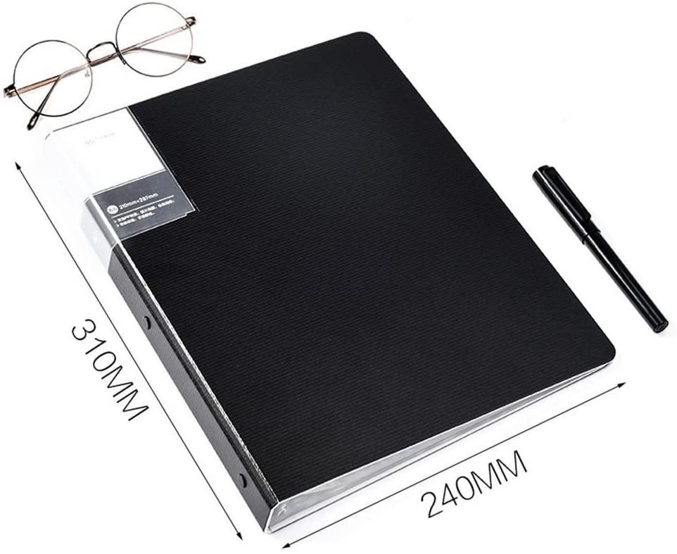 Plastic Multi-Layer Folder Information Booklet Loose-Leaf Folder A4 Sheet Music/Student Office Supplies Folder(40 Pages),Black