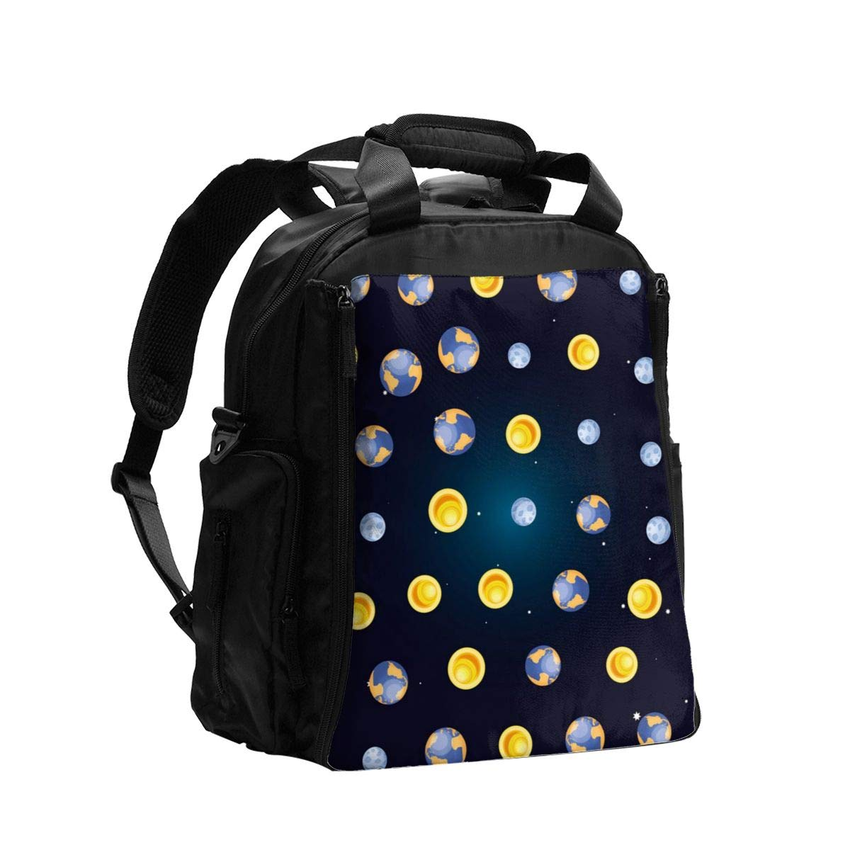 Earth Planet with Moon and Sun Diaper Bag Backpack Travel Backpack Maternity Baby Changing Bags
