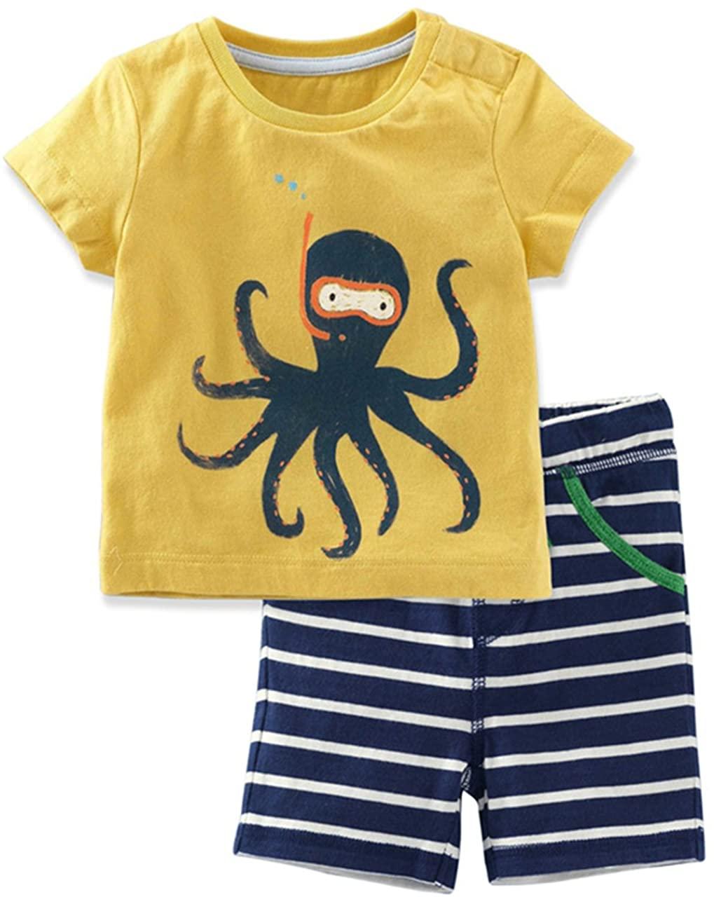 Little Boys Short Set Pajamas for Boys 100% Cotton Toddle Pjs Fire Truck Dinosaur Sleepwear Summer Clothes 1-7 T