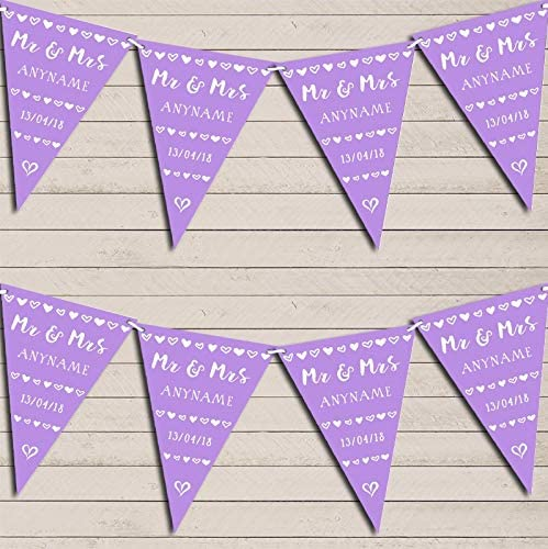 Mr & Mrs Hearts Lilac Purple Wedding Anniversary Bunting Garland Party Venue Decoration Party Flag Banner Garland