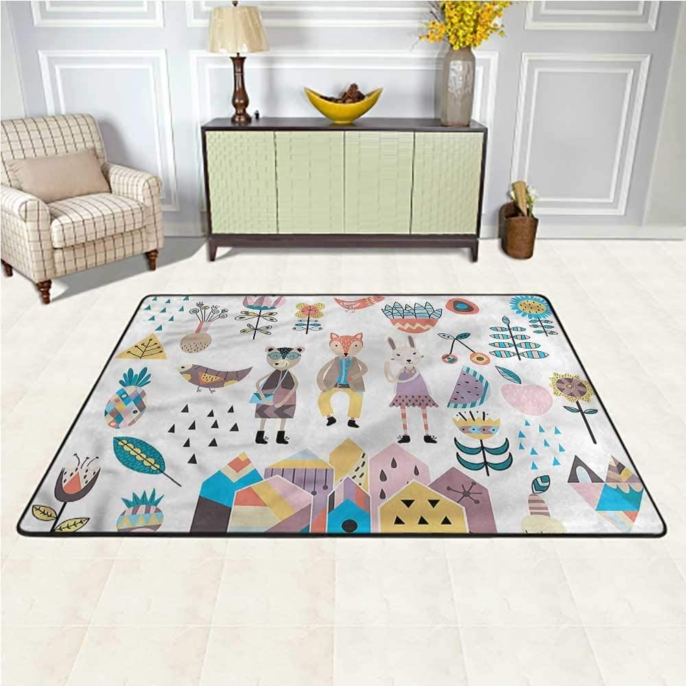 Carpet Cartoon, Fox Bunny and Bear Baby Crawling Mat for Baby Children Playroom Women Yoga 5 x 7 Feet