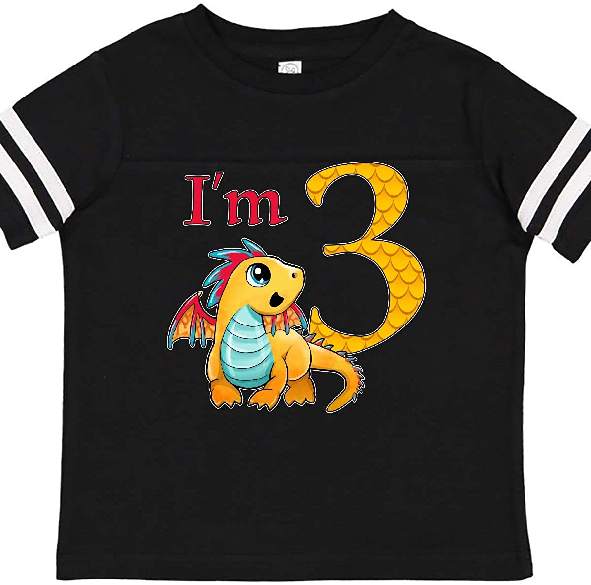 inktastic Gold and Red Baby Dragon Third Birthday Toddler T-Shirt