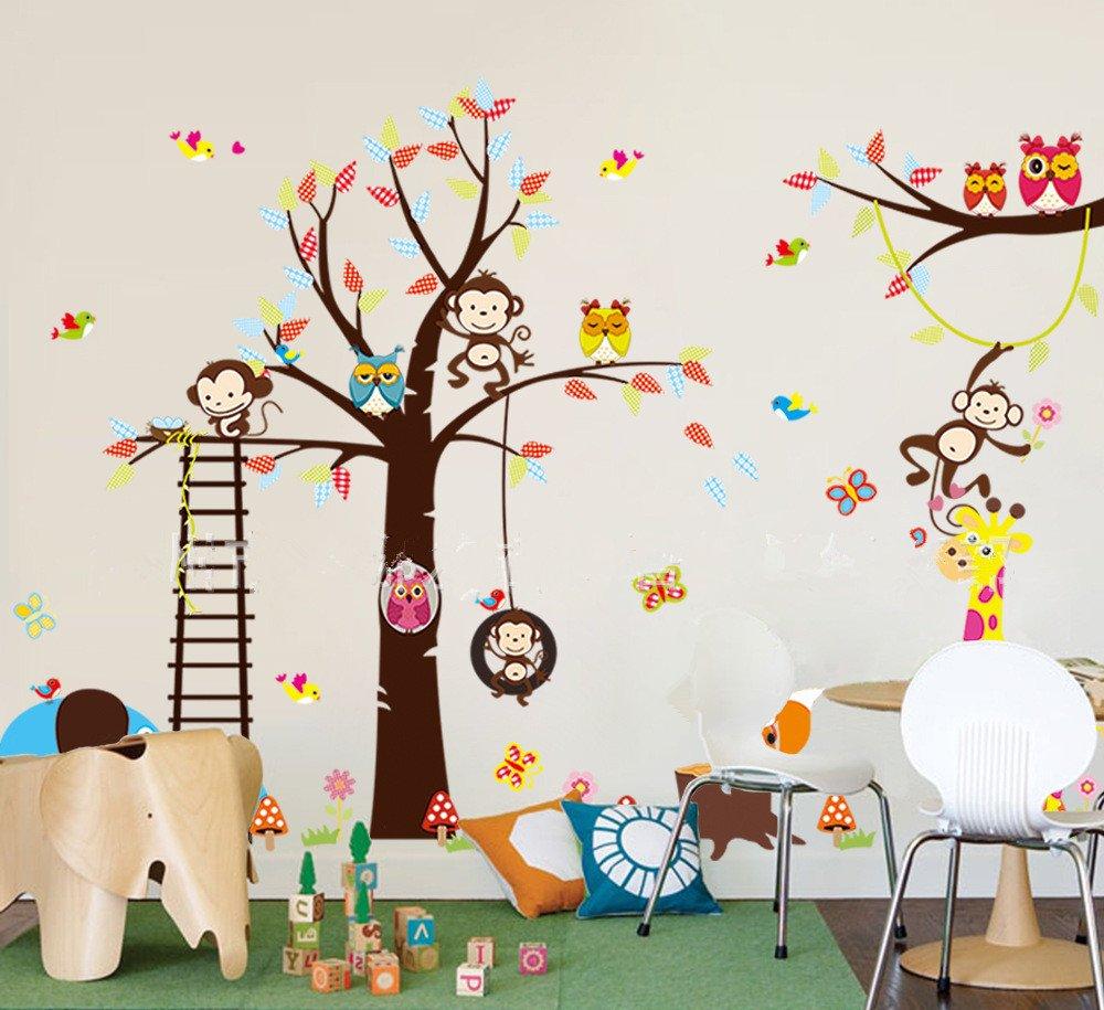 haya TM Lovely blooms zoo nursery children's room decorative wall stickers Kids Vinyl Sticker Home DecorationThe owl monkey lion elephant Color: The owl monkey lion elephant, Model: , Home/Garden & Outdoor Store