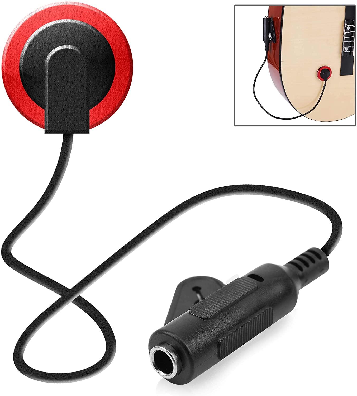Pyle Acoustic Mini Transducer Pickup-Piezo Contact Microphone Soundboard, Pick up Mic w/ 1/4