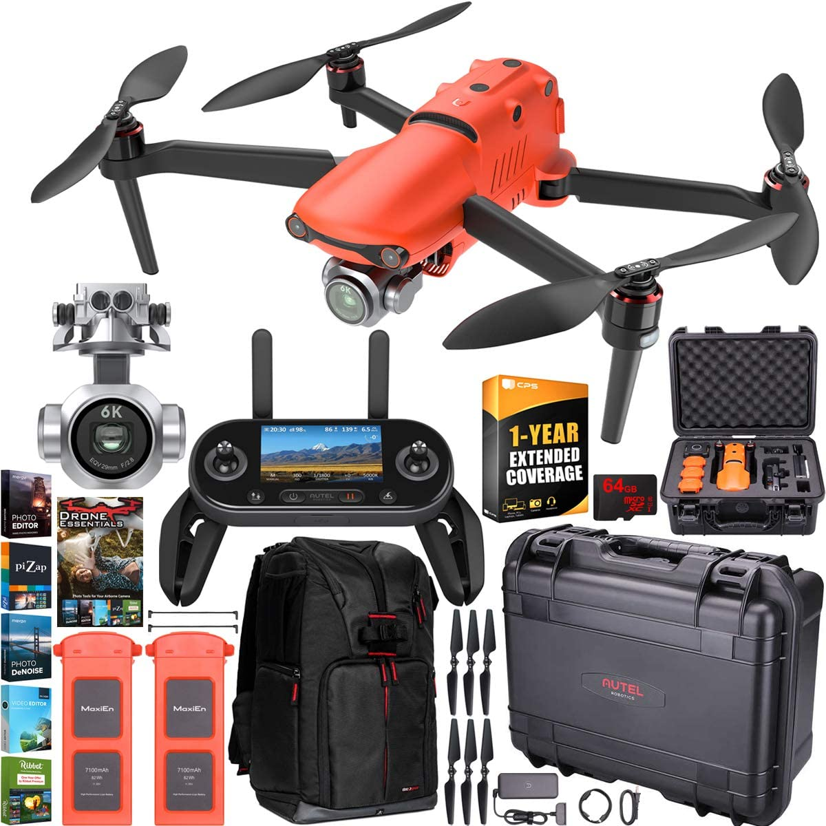 Autel Robotics EVO 2 Pro Drone Folding Quadcopter Rugged Combo 6K HDR Video and Mapping EVO II Pro Extended Warranty Expedition Bundle with Custom Hard Case + Remote Control + Backpack + Software Kit