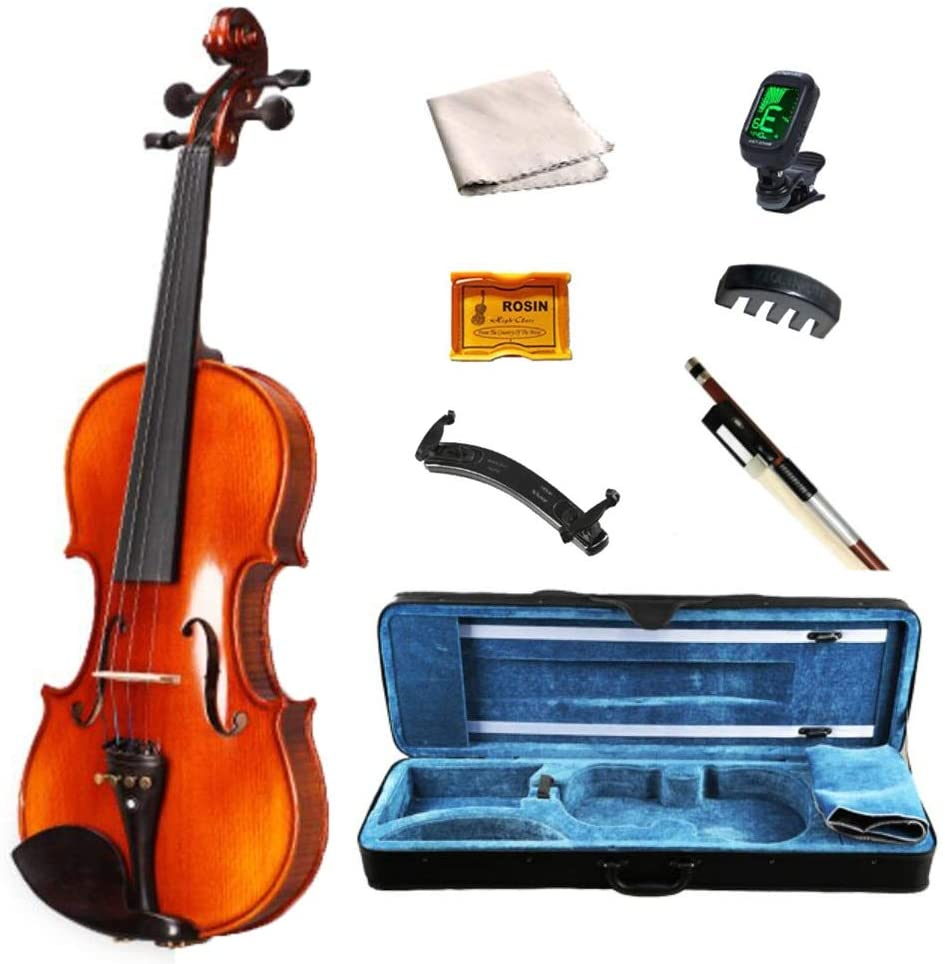 Acoustic Violin Acoustic Violin Set Retro Full Size 4/4 Beginner Handmade Stringed Instrument Matte with Hard Case Accessories Rosin Tuner Shijinhao (Color : Brown, Size : 1/4)