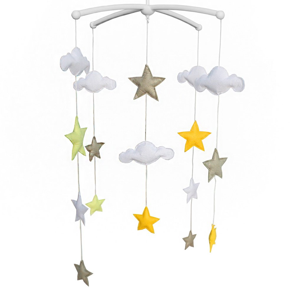 Baby Crib Decoration Educational Toys Nursery Decor Design Hand-Stitched Newborn Gift Lullaby Musical Mobile-C34