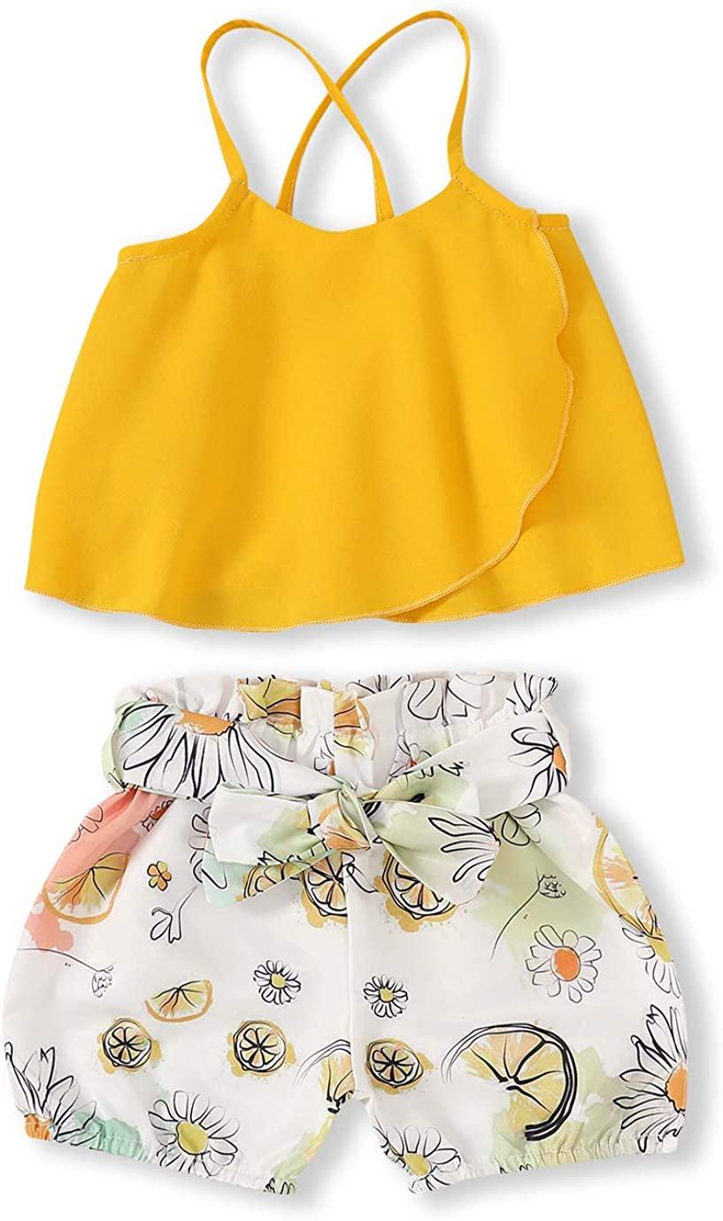 2Pcs Toddler Kids Girls Shorts Set Chiffon Strap Top Vest+Bowtie Floral Short Baby Outfits Summer Clothes Set