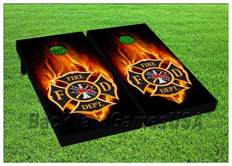 BackYardGamesUSA Maltese Cross Black Cornhole BEANBAG TOSS Game wBags Game Boards Firefighter 693