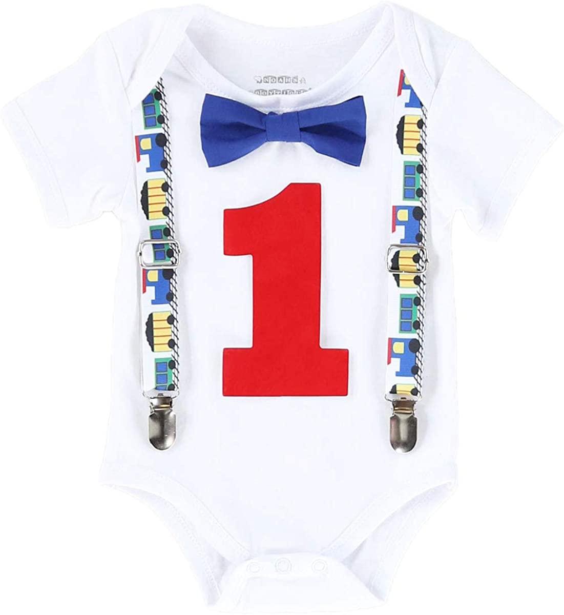 Noah's Boytique Train Theme Baby Boys First Birthday Outfit