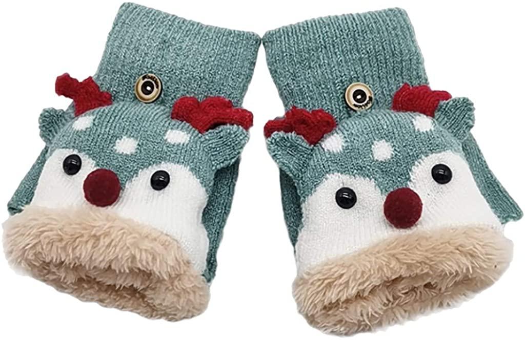 TOTAMALA Children Kids Baby Boys Girls Winter Christmas Half Finger Antler Convertible Flip Top Warm Gloves