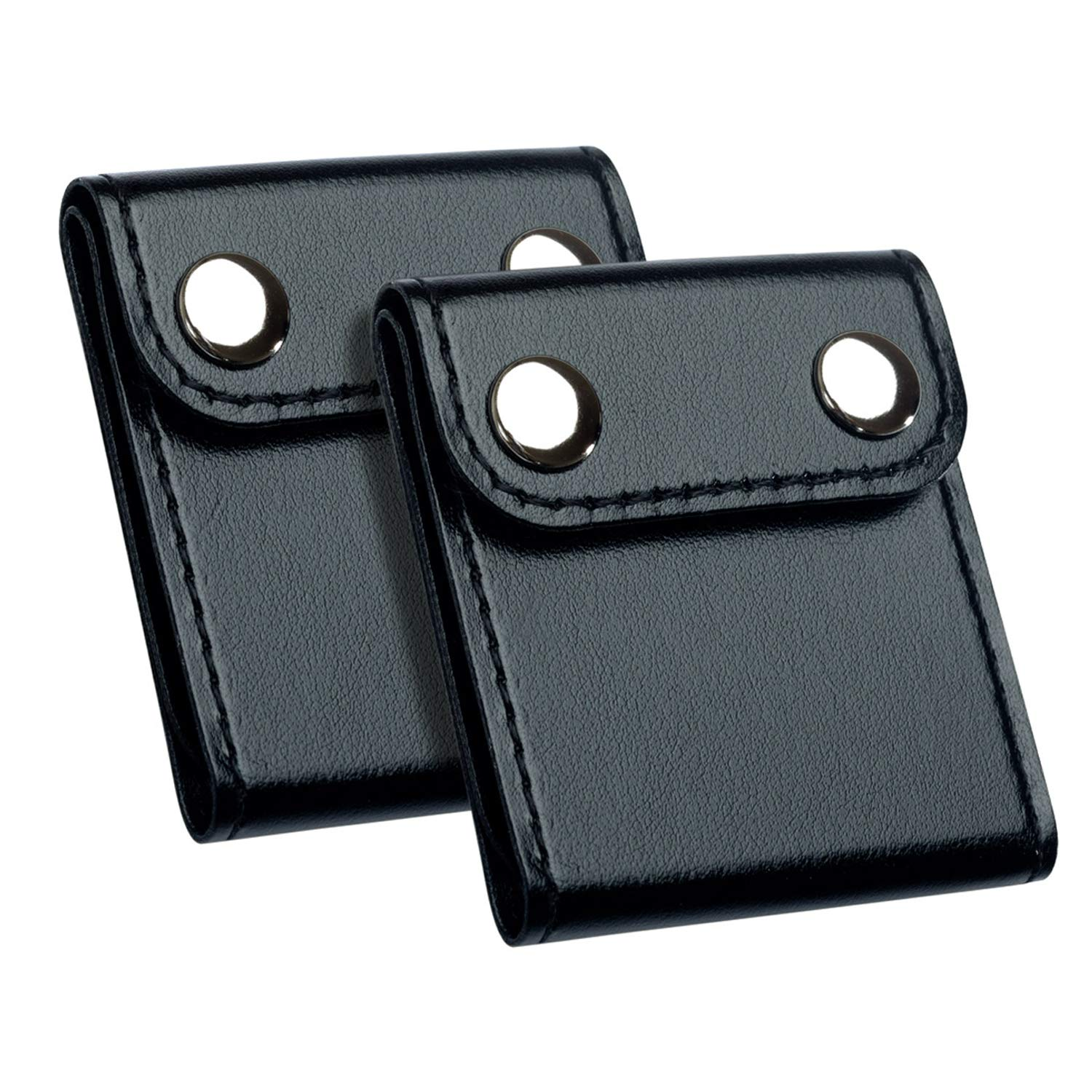 Seat Belt Adjuster Positioner Clips - DYKEISS Comfort Universal Auto Shoulder Neck Strap Safety Positioner, PU Leather Vehicle Car Seatbelt Locking Covers for Kids Adults, 2 Pack (Black)