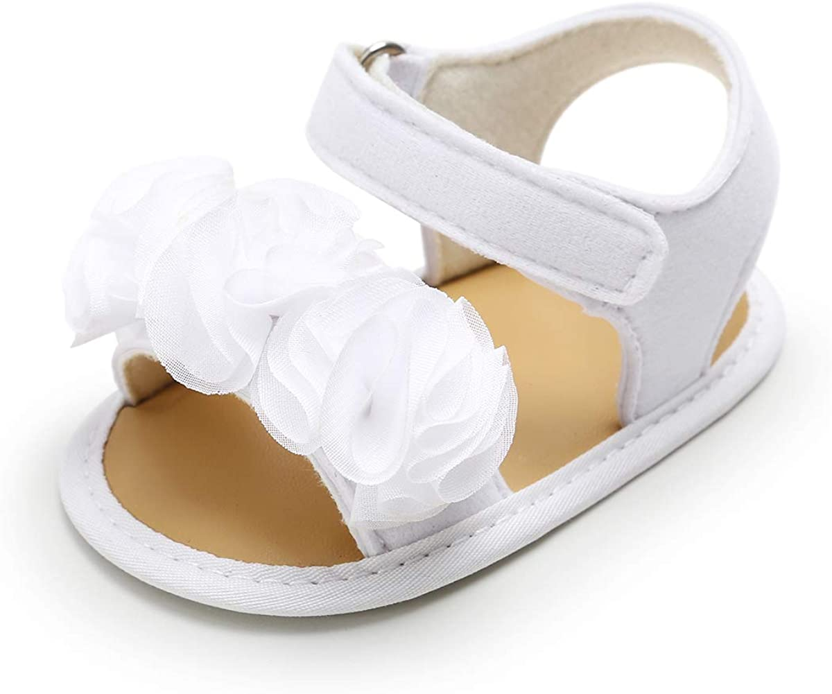 SOFMUO Infant Baby Girls Sandals with Flower Soft Sole Newborn Summer Crib Shoe Toddler First Walker Princess Dress Shoes