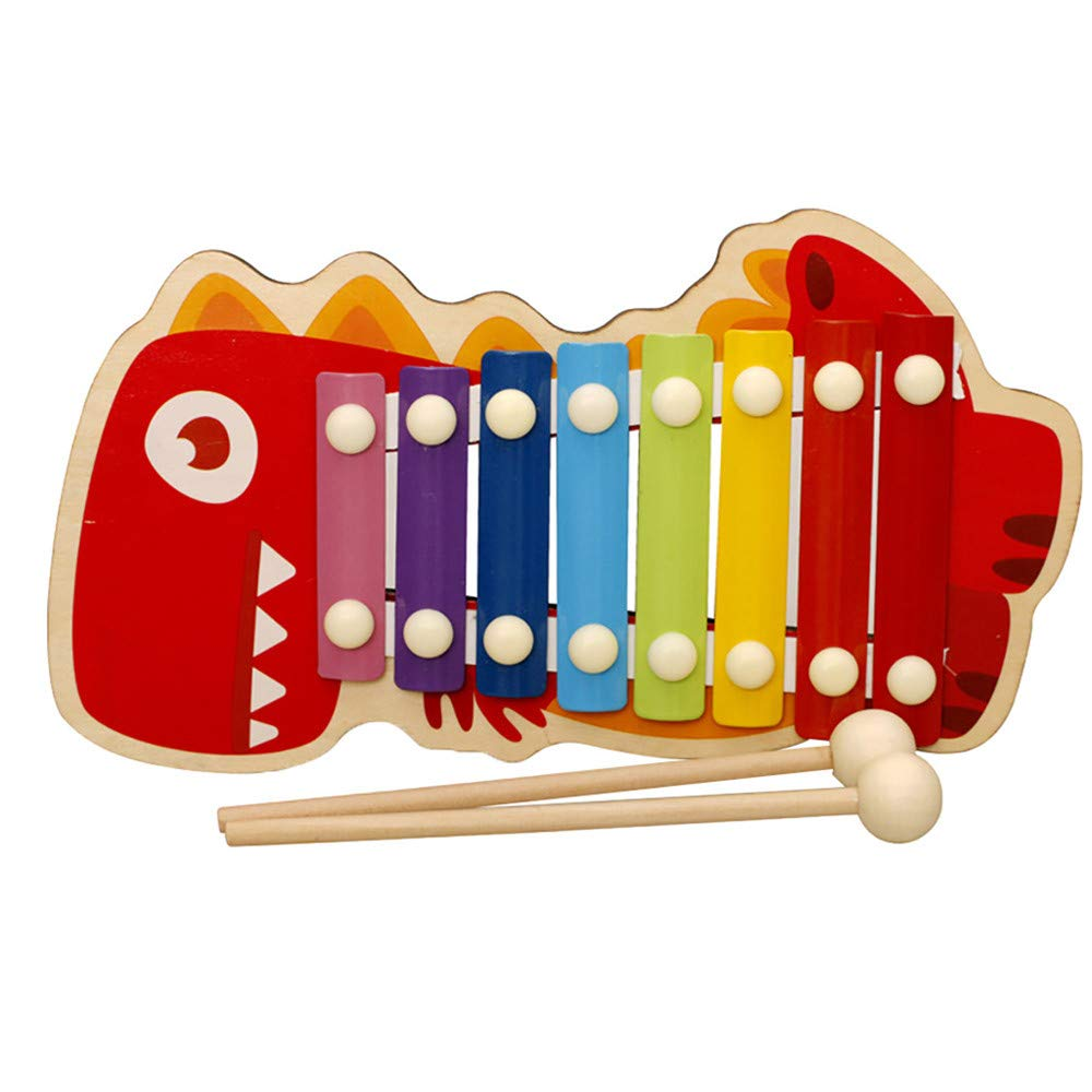 ✅8 Tones Xylophone for Kids Dinosaur Wooden Piano Hand Knocking with Mallet Early Education Musical Instruments Toy for Toddlers Gift 24.3x10cm