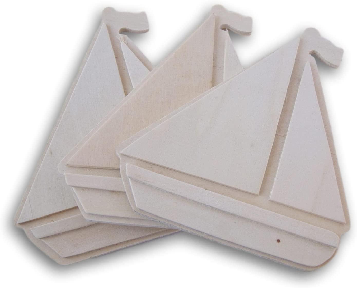 Darice Unpainted Wood Cutout - Large Sailboat Shape - Set of 3