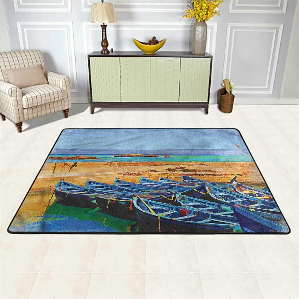 Rugs Country, Sea Scenery and Gulls Boats Baby Floor Playmats Crawling Mat for Baby Children Playroom Women Yoga 7 x 7 Feet