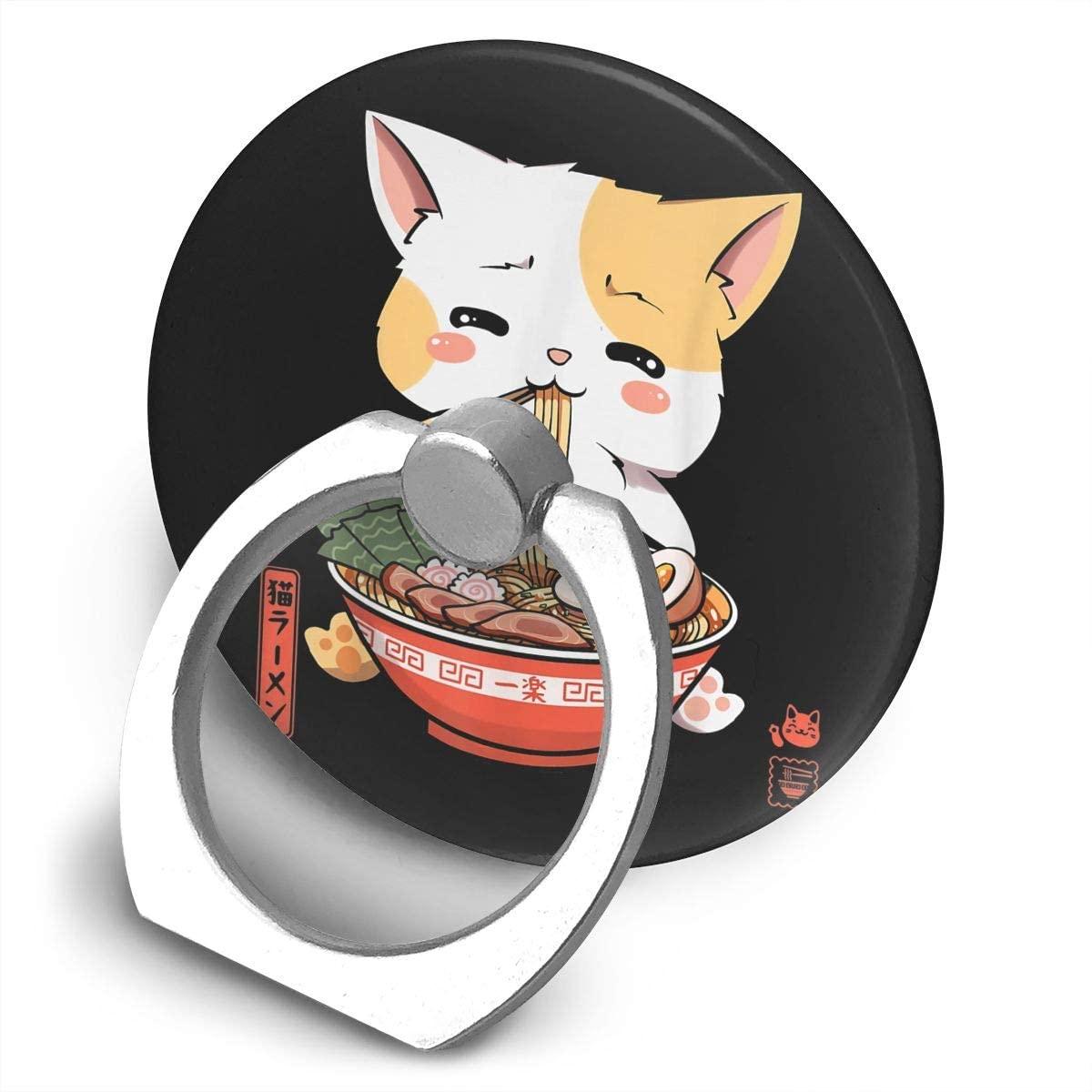 Zwinz Kawaii Neko Cat Ramen Bowl Anime Japanese Alloy Mobile Phone Ring Bracket,360 Degree Rotating Ring Stand Grip Mounts