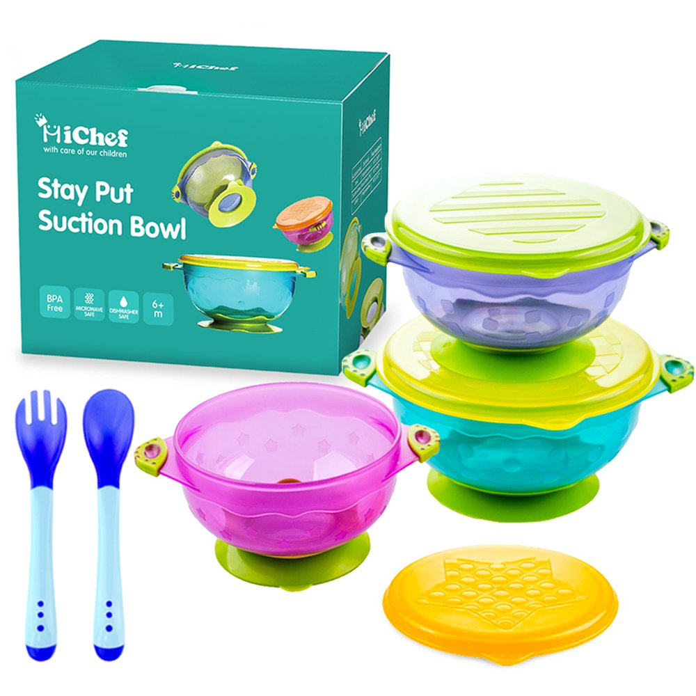 MICHEF Stay Put Suction Bowl, Spill Proof, Baby Bowls with Snap Tight Lids, Baby Gift Set of 3 Count, and 2 Hot Safe Spoon and Fork, Perfect for Babies & Toddlers BPA & BPS Free