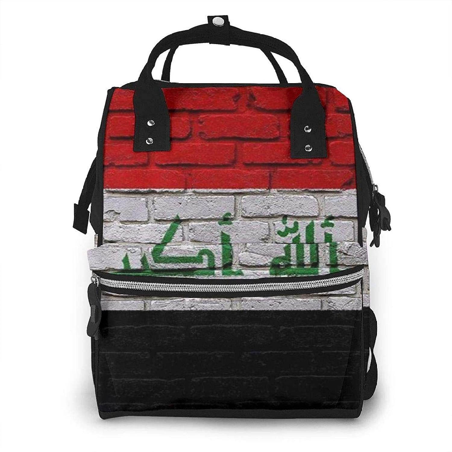 Flag of Iraq (Iraqi) - RusticUSA License Plate Baby Diaper Bag Nappy Backpack Travel Shoulder Bag Large Capacity for Mommy Daddy