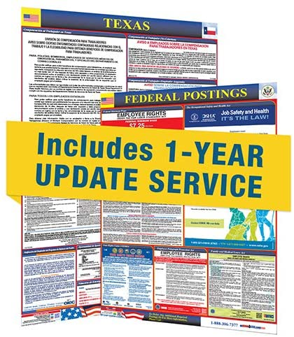 Texas State and Federal Labor Law Posters with 1 Yr E Update Service