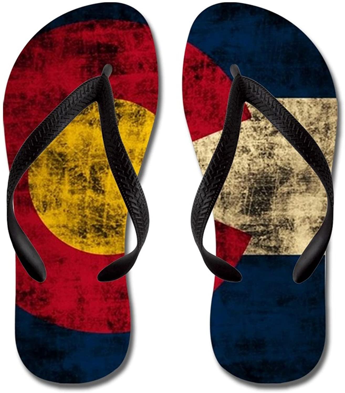 Lplpol Vintage Grunge Colorado Flag Flip Flops for Kids and Adult Unisex Beach Sandals Pool Shoes Party Slippers