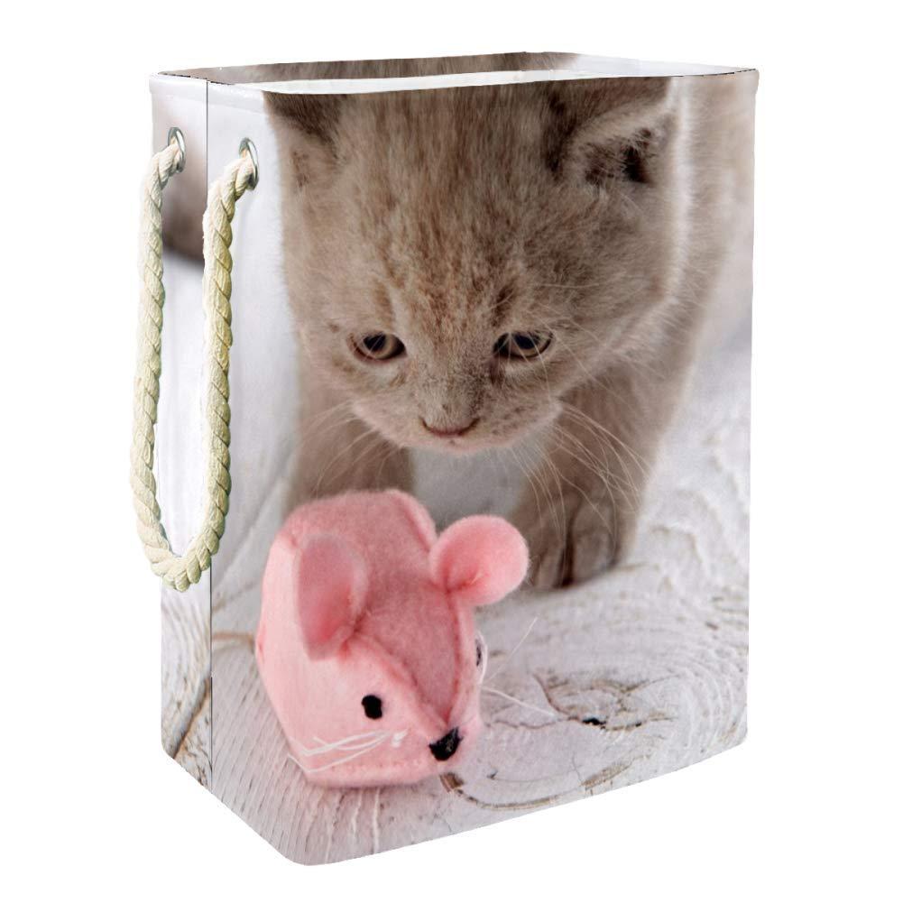 Kitten Pink Mouse Toy Storage Basket Bin Chest Organizer for Organizing Toy Storage,Baby Kids Toys,Dog Toys,Baby Clothing,Children Books,Gift Baskets