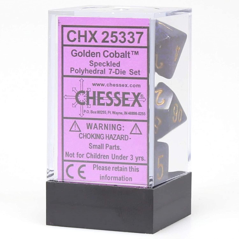 Chessex CHX25337 Dice-Speckled Golden Cobalt Set