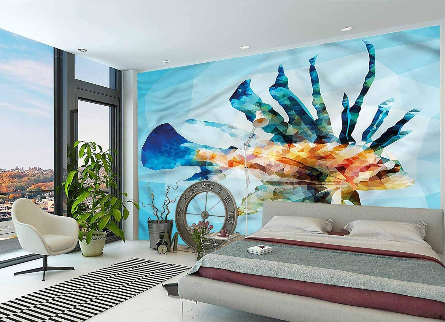 LCGGDB Fish Large Wall Mural,Ornamental Fish Style Removable Large Sticker Foil Wall Decor for Office Kids Bedroom Nursery Family Decor-96x66 Inch