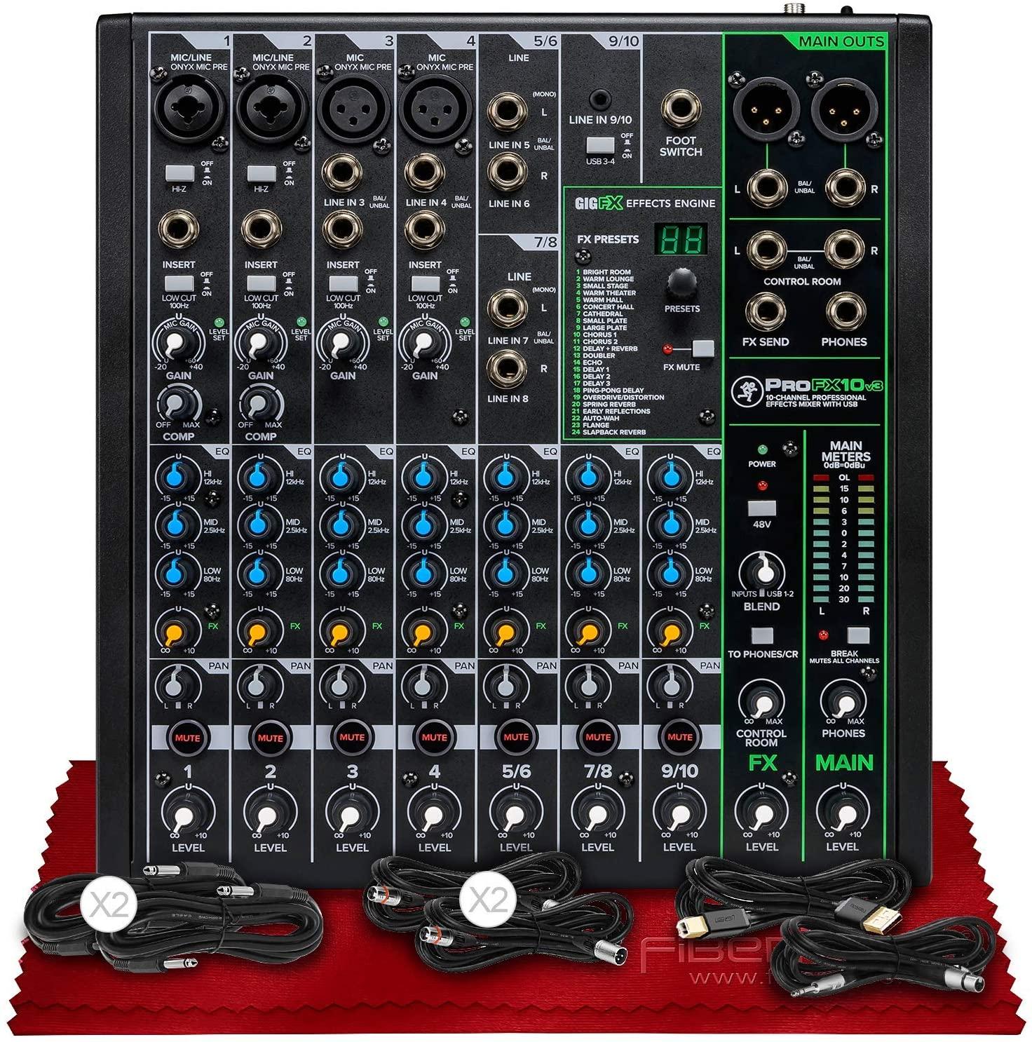 Mackie ProFX10v3 10-Channel Professional Sound Reinforcement Mixer with Built-In FX + Basic Cables Bundles & Fibertique Microfiber Cleaning Cloth