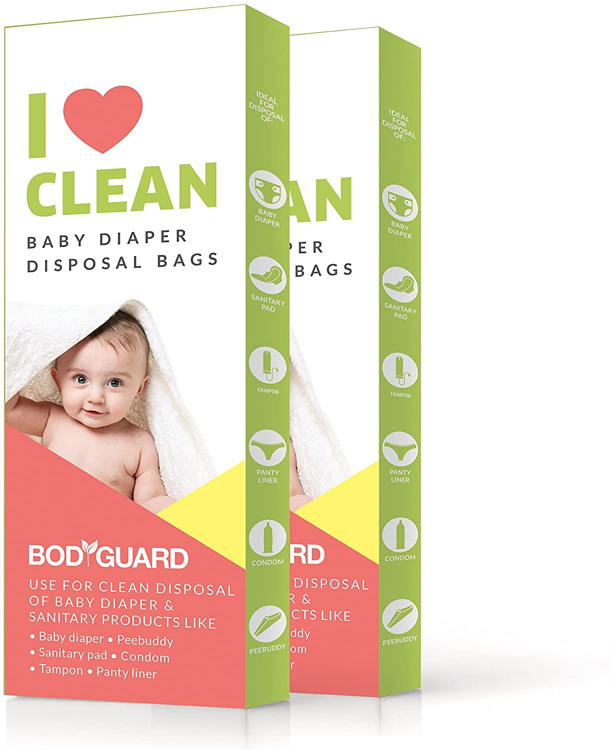 Bodyguard Baby Diaper Disposable Bags - 30 Bags | Odor Sealing for Diapers, Food Waste, Pet Waste, Sanitary Product Disposal | Durable and Unscented