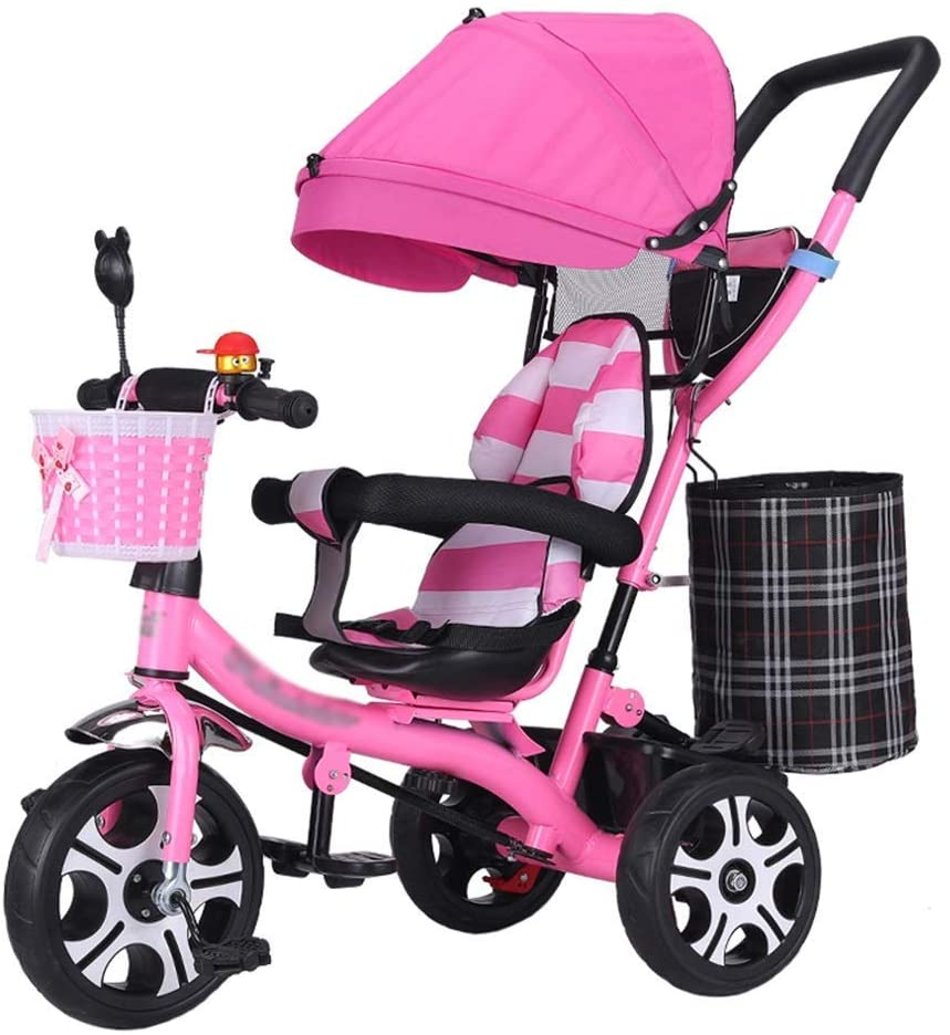 GFF Pushchair Multifunctional Baby Stroller Trike Bike Detachable Guardrail Kids' Trolley with Rotating Seat and Safety Harness Children's Tricycle for 6 Months-6 Years Old